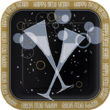 8 New Year Bubbly Paper Party Plates